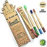 Paquete Familiar de 4 Cepillos de dientes madera de bambú 100% biodegradable Compostable para niños y adultos (2 pequeños + 2 grandes) | Mango redondo, cerdas suaves y diferentes colores.