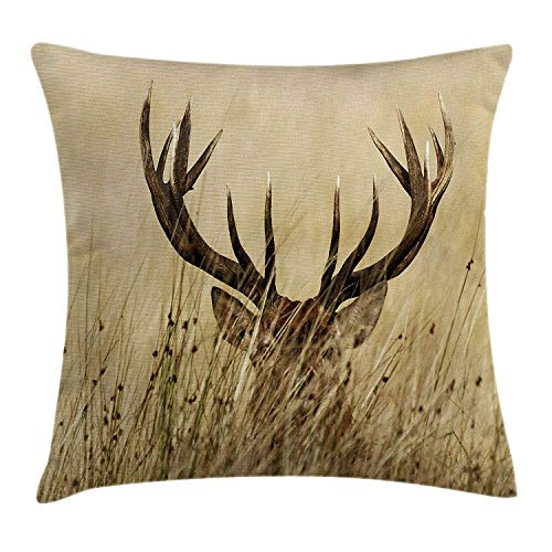 N\A Antler Decor Throw Pillow Cushion Cover Whitetail Deer Fawn in Wilderness Stag Countryside Rural Hunting Theme Decorative Square Accent Pillow Casees