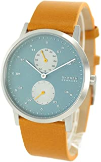 [スカーゲン]SKAGEN メンズ KRISTOFFER クリストファー シンプル 薄型 スリム ライトブルー文字盤 水色 ブラウンイエロー レザー 革ベルト SKW6526 腕時計 [並行輸入品]