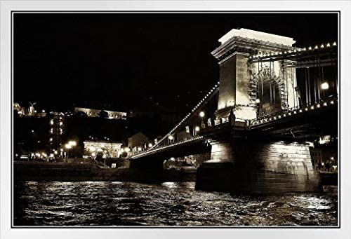The Chain Bridge Budapest River At Night Black White Photo Poster 18x12