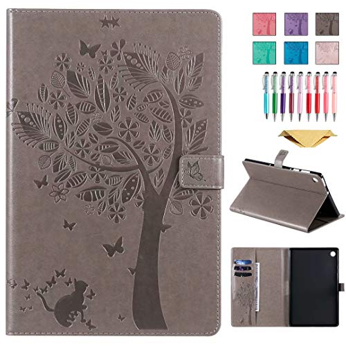 QYiD Leather Case for Galaxy Tab S4 10.5' SM-T830/T835/T837, Enbossed Design [CAT & Tree] PU Leather Book Folio Smart Cover with Stand for Galaxy Tab S4 10.5 inch 2018, Gray