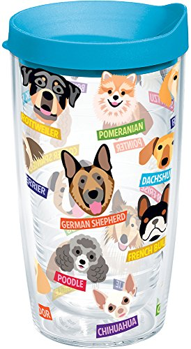 Tervis Flat Art - Dogs Tumbler with Wrap and Turquoise Lid 16oz, Clear
