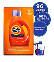 More concentrated laundry detergent for 30% more cleaning power per drop *vs 150 oz bottle Shipping-safe packaging to prevent laundry detergent liquid leaks on the way to your home No-drip tap and stand to raise the box and allow for clean, easy dete...