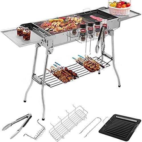 Barbecue à Charbon Pliant Portable, BBQ de Table avec Double Ailes, pour Camping et Pique Nique, Barbecue de Jardin, avec Poêle à Frire Antiadhésive, 122*30*75cm
