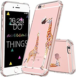 MOSNOVO iPhone 6S Case/iPhone 6 Case, Cute Giraffe Pattern Clear Design Printed Transparent Plastic Hard Back Case with Soft TPU Bumper Protective Case Cover for Apple iPhone 6/6S (4.7 Inch)