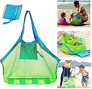 Dailychic Large Portable Beach Mesh Bag Kids Toys Tote Bag Stay Away from Sand(with a duck bath toys included))