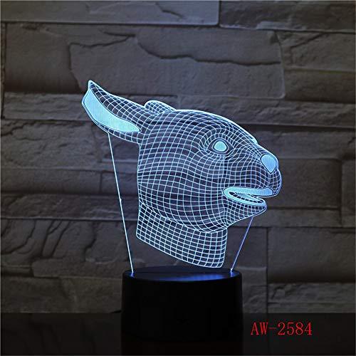 jiushixw 3D acryl nachtlampje met afstandsbediening van kleur veranderende tafellamp Zodiac Rabbit New Change Desktop woonkamer ruimte tafel kalk
