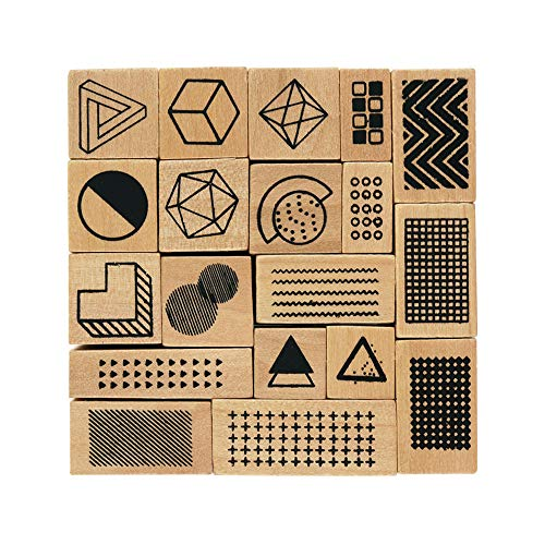 Dizdkizd 19 Pieces Wooden Rubber Stamps, Shapes and Lines Decorative Wood Mounted Rubber Stamp Set for DIY Craft, Card Making and Scrapbooking