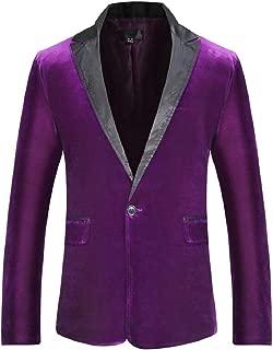 Sodossny-AU Mens Tops Velvet Long Sleeve Lapel Slim Fit Suit Blazer Jackets