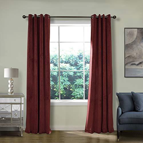 ChadMade Blackout Lined Premium Velvet Curtain Burgundy 50Wx84L Inch (1 Panel), Eyelet Grommet for Livingroom Bedroom Theater Studio, Birkin Collection