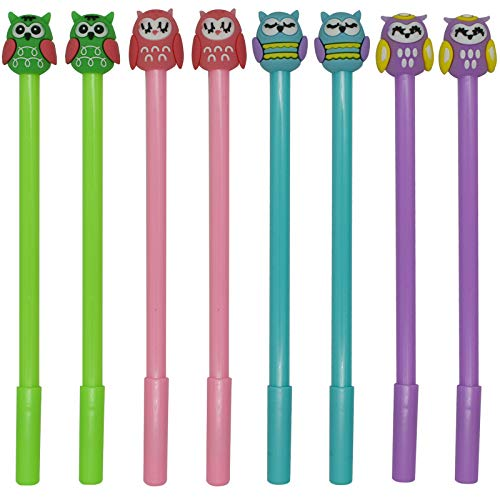 Maydahui 12PCS Owl Shaped Rollerball Pens Cute Kawaii Animal Pen Novelty Bird Writing Pen Black Gel Ink Desk Decor Accessories for Kids School Office