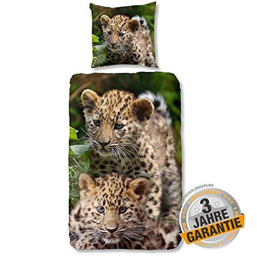 Aminata Kids süße Bettwäsche-Set Leoparden-Motiv 135 x 200 cm + 80 x 80 cm Jungen, Mädchen, aus Baumwolle mit Reißverschluss, unsere Kinder-Bettwäsche Safari-Motiv, Dschungel-Motiv, grün