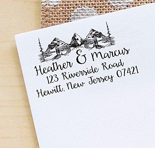 Printtoo Personalized Mountain & Pine Tree Monogram Address Invitation Self-Inking Rubber Stamp