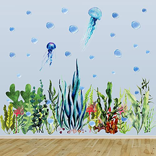 Under The Sea Wall Decals Ocean Wall Decals Stickers Removable Ocean Coral Seaweed Wall Decal Sticker Undersea Decor Stickers for Kids Bedroom Bathroom Girl Nursery Wall Corner Decoration