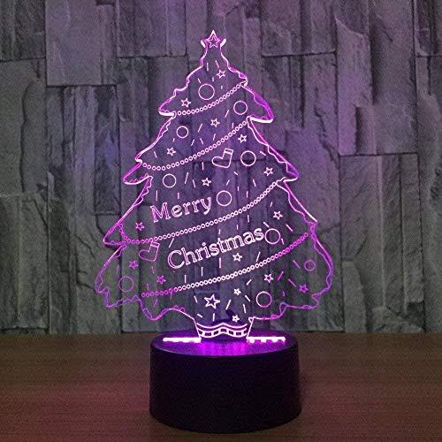 Árbol de navidad 3D luz de la noche toque colorido luz LED visual estéreo decoración del dormitorio niño niña cumpleaños navidad año nuevo regalo de la novedad