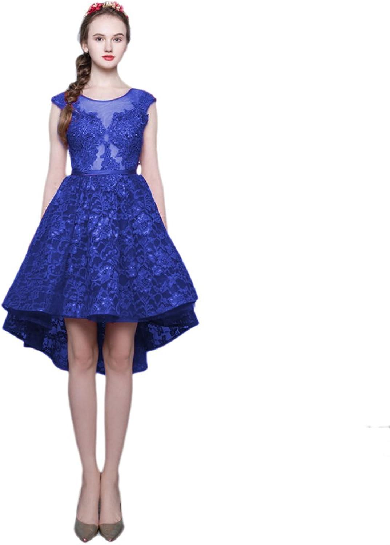 Vimans Women's Elegant Short Scoop Beaded Lace Bridesmaid Dress Prom Gowns