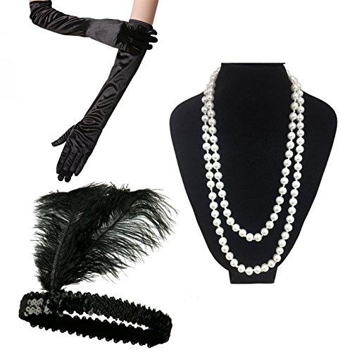 iLoveCos Disfraces de Roaring 20s 1920's Accesorios para Disfraz de charlestón (Venda para el Pelo,Earing traducción Espanol,Collar de Perlas,Canastilla de cigarro,Guantes) (E)