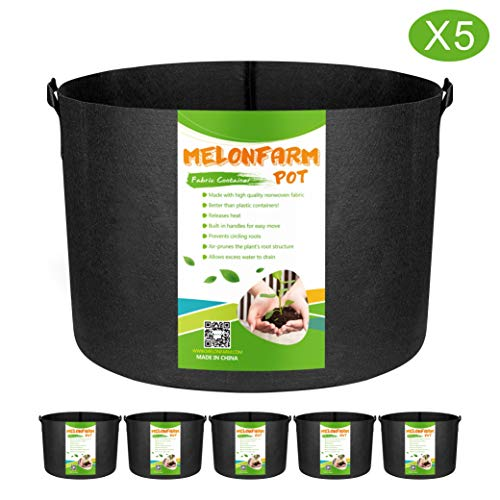 MELONFARM 5-Pack 5 Gallon Grow Bags Heavy Duty Thickened Non-Woven Plant Fabric Pots with Handles