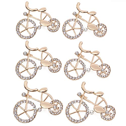 Poluka 6Pcs Bicycle Brooch Pins Rhinestone Crystal Creative Bike Brooch Pins Ornaments for Girls Women Jewelry Lapel Pin Gift Fashion Clothing Jacket Bag Pin Badge Decor