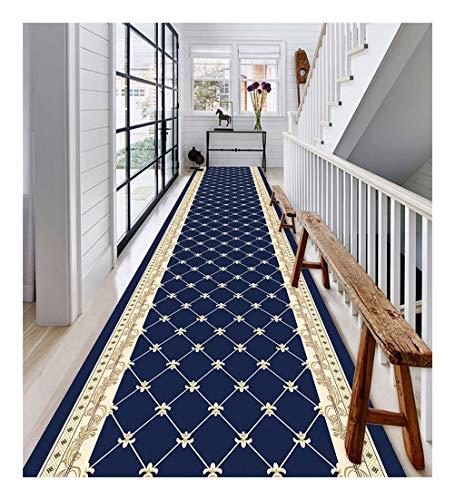 ditan XIAWU Bereich Teppich Gang Wohnzimmer Treppe rutschfest (Color : Blue, Size : 60x250cm)