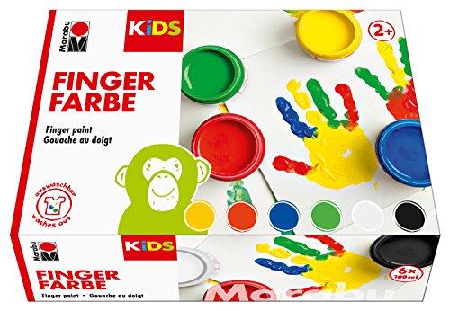 Marabu 0303000000081 - Kids Fingerfarbe Set mit 6 leuchtenden Farben á 100 ml, parabenfrei, vegan, laktosefrei, glutenfrei, geeignet zum Malen in Kindergarten, Schule, Therapie und zu Hause