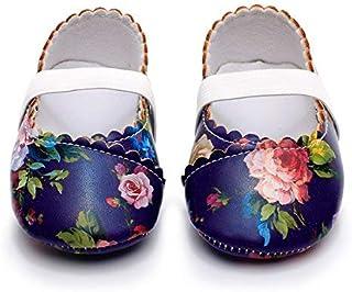 HONGTEYA Girls Dance Ballet Mary Jane Flats Shoes Print Rubber Sole Bottom Baby Moccasins Sandals(18-24M/5.51inch Dark Blue Flower) [並行輸入品]