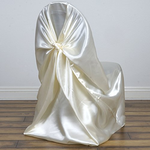 BalsaCircle 50 pcs Ivory Universal Satin Chair Covers Slipcovers for Wedding Party Ceremony Reception Decorations