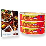 Ortiz Bonito del Norte White Tuna Fish in Olive Oil Sustainable Fishing with Vitamins and Minerals as Omega 3 Easy to open Tin 3.95 oz (112 g) with Recipe Book (3 Pack)