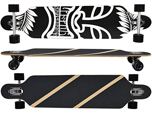 MAXOfit® Longboard Mystic, Freeride Komplettboard Ahorn 106 cm, Drop Through, 41x9.8'', ABEC 11 Kugellager