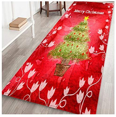 Christmas Area Rug Christmas Rug Runner - Merry Christmas Welcome Doormats Non-Slip Floor Mats Door Mat - Indoor Home Carpets Hall Rugs for Entrance/Living Room/Bedroom/Bathroom/Xmas Decorations (F)