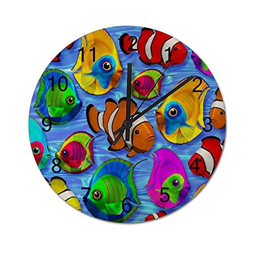 Reloj de Pared ,Patrón de Peces Tropicales, Relojes de Pared Digitales de Madera Que no Hacen tictac, Funcionan con Pilas, decoración Sala de Estar, Dormitorio, Aula, Oficina (10 Pulgadas).