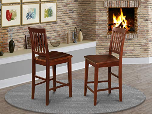 East West Furniture VNS-MAH-W Vernon counter height chairs-Wooden Seat and Mahogany Solid wood Frame kitchen counter height chairs set of 2