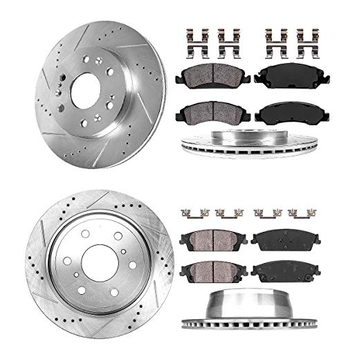 Callahan CDS02452 FRONT 330mm + REAR 345mm D/S 6 Lug [4] Rotors + Brake Pads + Clips [ fit Chevrolet GMC Cadillac ]