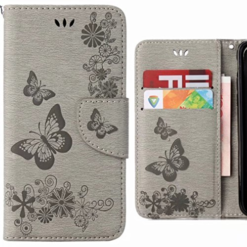 Ougger Hülle für Huawei P20 Lite Handyhüllen, Tasche Leder Schutzhülle Schale Weich TPU Silikon Magnetisch-Stehen Flip Cover Tasche P20 Lite mit Kartensteckplätzen, Schmetterling Streifen (Grau)