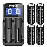 18500 Rechargeable Batteries 4 Pack with Charger, JESSPOW IMR 18500 Rechargeable Li-ion Battery 1600mAh 3.7V [ for Flashlight, Solar Garden Light ] with Button Top