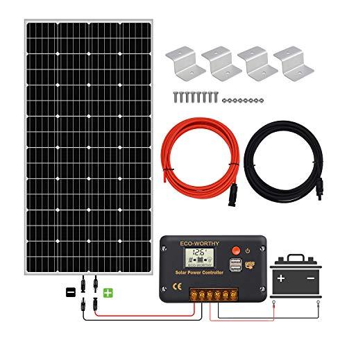 ECO-WORTHY 150 W 12 V Mono solaire kit de démarrage avec 20 A Amp LCD contrôleur de charge pour Arrêt Grille RV Bateau camping-car