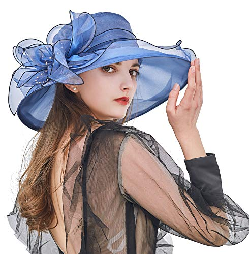 Z&X Sombreros de organza para mujer con diseño de Iglesia de Kentucky Derby de flores para boda, fiesta de té, sombrero de ala ancha - azul - Talla única