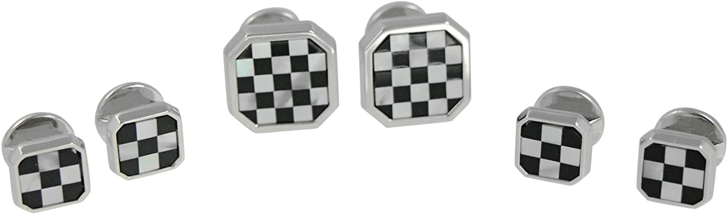 Baade Mother of Pearl Onyx Checker Stud Set with Cufflinks
