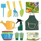 Attrezzi da giardinaggio per bambini, 10 attrezzi da gioco per il giardino con borsa da giardino, guanti da giardinaggio, sonda per bambini, paletta a punta, paletta quadrata, triangolare
