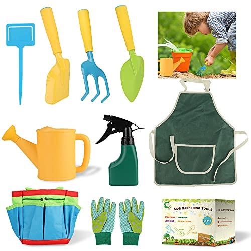 GartengeräTe für Kinder, 10 Spielwerkzeuge für Den Garten mit Gartentasche, Gartenhandschuhe, KinderschüRze, Wahrzeichen, Spitz Schaufel , Quadratische Schaufel, Dreikant-Harke, GießKanne, SprüHdosen