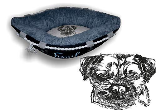 LunaChild Hundebett Hund Boot Böötchen Border Terrier 2 Hundeboot Sofa Lounge Hundelounge mit Name Wunschname Snuggle Bag Größe XS S M L viele Farben Hundekorb