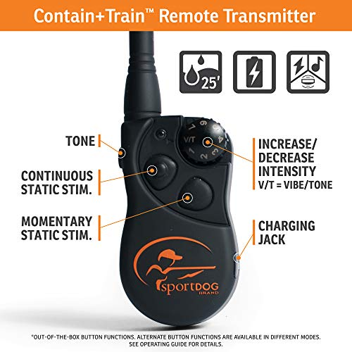 SportDOG Brand Contain + Train System - In-Ground Fence Kit with Remote Trainer - Waterproof, Rechargeable Collar with Tone, Vibrate, and Shock - Expandable to Multiple Dogs