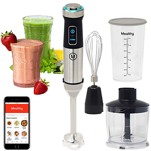 Mealthy Immersion Hand Blender: 500 Watt, 10 Speed Controls Plus Turbo, Includes 500mL Chopper and Whisk, and 600mL Smoothie Cup. Stainless Steel & BPA-free; Instant Access to Recipe App with Videos