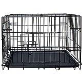 "Dog Cage 42"" Black Metal Tray Double Door Heavy Duty Folding Pet Crate"