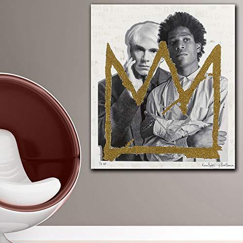 SQSHBBC Wandbilder für Wohnzimmer Andy Warhol Big GoldKleine Silve Crown Print Leinwand Kunst Wohnkultur Moderne Mode Leinwand Poster A1 12X14 Zoll
