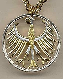 German Silver 5 Mark Eagle - Beautifully Hand Cut out & 2-toned(Uniquely Hand done) Gold on Silver coin Necklaces for women men girls girlfriend boys teen girls