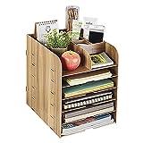 Organizador de escritorio madera, estantería de almacenaje–Bandeja para cartas para A4A5documentos, documentos y cartas, caja Sistema para el escritorio., color marrón