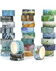 Kovano Washi Tape Set van 24 decoratieve masking tape collectie, verschillende seizoenen sjablonen - plakband voor scrapbooking