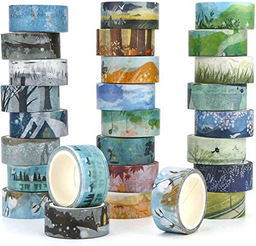 Kovano Washi Tape Set von 24, dekorative Masking Tape Collection,Verschiedene Jahreszeiten vorlagen - Klebeband für Scrapbooking (Bürobedarf & Schreibwaren)