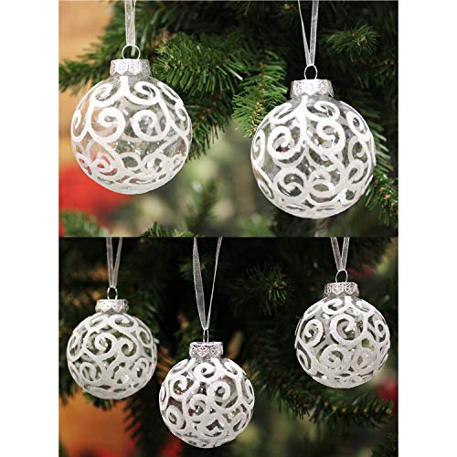Sleetly Christmas Ball Ornaments, Transparent White Swirl, Assorted Sizes, Set of 32